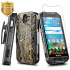 For Kyocera DuraForce PRO 2 E6900 Clip Holster Case Kickstand + Tempered Glass