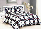 Royal Wedding Ring Quilt Set King / Queen 3 Pc Shams Classic Patchwork Maroon  image