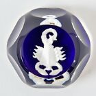 Baccarrat Glass Paperweight White Scorpio Scorpion Signed Dark Cobalt Blue 3*