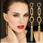 11cm Long Tassel Gold Plated Hook Drop Dangle Women Fashion Earrings + Gift Box