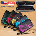 Women's RFID Block Genuine Leather Floral Print Large Capacity Clutch Wallet  image