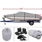 600D 17ft-24ft Heavy Duty Waterproof Trailable Fish Ski Boat Cover V-Hull w/ Bag image