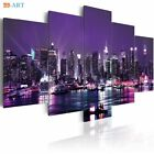 New York City Construction Scenery Printed Canvas Art 5 Panel Night View Poster