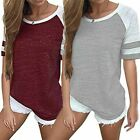 Summer Tee Womens T Shirts Short Sleeve Stripe Pullover Sports Blouse Clothing