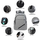 Unisex School Large Computer Backpack Travel Rucksack Shoulder Laptop Bag USB GI