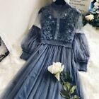 Ladies Lace Hollow Out Puff Sleeve Floral Dress Vintage Mesh Fairy Party Dress