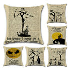 Nightmare Before Christmas Halloween Cotton Linen Pillow Case Cushion CoverVE image