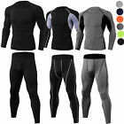 Men's Workout Compression Tops Legging Gym Base Layers Stretchy Spandex Plain
