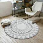 1 Pcs Nordic Gray Series Round Carpets For Living Room Computer Chair Area Rug C