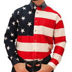 Mens Long Sleeve American Flag Patriotic Red White & Blue Shirt 4th of July USA