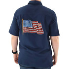 Men's American Flag Palms Embroidered Patriotic Shirt 4th of July