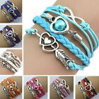 Fashionable Multilayer PU Leather Rope Pearl Bracelet Wristband Jewelry Gift GI
