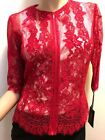 Worth NY Red Lace Zip Blouse/Jacket Cotton/Silk/Other Size 4 Retail $498.00