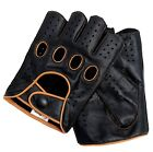 Riparo Women Leather Reverse Stitched Fingerless Half-Finger Gloves - Black/Tan