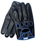 Riparo Reverse Stitched Leather Driving Gloves - Black/Blue Thread