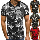 Men's Short Sleeve Polo Tee Shirts Golf Slim Fit Casual Summer Muscle Camo Tops
