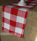 Red Plaid Table Runner Country Kitchen Dining Room Decor Gingham Buffalo Linens