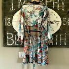 New Women's Floral Long Sleeve Kimono Duster Maxi Belted Jacket Top Sizes L - 4X