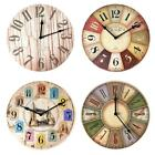 12 inch Mediterranean Vintage Wooden Clock Silent Home Cafe Wall Clocks C#P5
