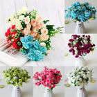 21 Heads Artificial Silk Rose Flowers Bouquet Fake Leaves Wedding Home Decor Lot