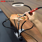 3rd Helping Hand Soldering Station USB LED 3X Magnifier Table Clamp Flexible Arm