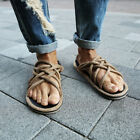 ByTheR Criss Cross Brown Straw Rope Sandal Slippers Summer Vintage Open Toes