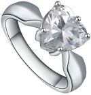 Women's Stainless Steel Swan, Sunflower, Heart, Cubic Zirconia Engagement Ring