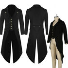 Retro Mens Long Tuxedo Jacket Frock Coat Formal Uniform Cosplay Costume Outwear