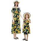 Mother and Daughter Ruffle Off Shoulder Matching Dress Family Sundress for Women
