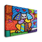 "Romero Britto Cartoon Art Oil Painting Print On Canvas Wall Deco""A Sitting Dog"""