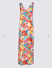 M & S COLLECTION CORAL MIX FLORAL PRINT MAXI DRESS