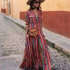 Polyester Color Stripe Printing Chiffon Maxi Dress Beach Wear Ankle-length