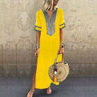 US Women Cotton Linen Maxi Dress Short Sleeve Casual Boho Kaftan Tunic Plus Size
