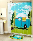 Retro Camping Bathroom Collection Accessories Rug Shower Curtain Towels Set New