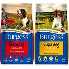 BURGESS ADULT 15KG - Supadog Dry Complete Dog Food bp Canine Pet Feed Biscuits k