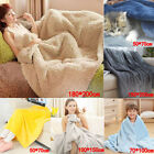 Super Soft Warm Plain Warm Micro Plush Fleece Blanket Throw Sofa Bedding US image