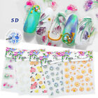 5D Nail Stickers Embossed Flowers Leaves Patterns Decals Nail Art Decoration