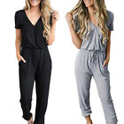 Women's Summer Long Jumpsuit V-Neck Casual Trouser Suit with Pockets Romper GIFT