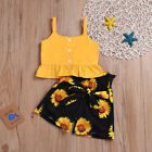 Kyпить Toddler Baby Kids Girls Clothes Crop Tops Sunflower Shorts Pants Outfits Sets на еВаy.соm