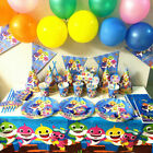 Hot Shark Party Banner Flag Decor Plates Tablecloth Balloon Baby Birthday Supply