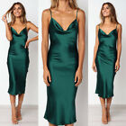UK Womens Satin Silk Midi Dress Strappy Cocktail Evening Party Casual Bodycon