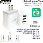 3 Ports Quick Fast Wall Charger Qualcomm QC 3.0 18W for Samsung Galaxy S8,S9,S10