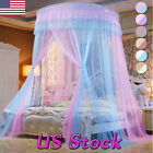 Elegant Lace Bed Mosquito Netting Canopy Princess Queen Round Dome Bedding Net image
