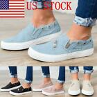 US Women's Lady Denim Canvas Loafers Pumps Casual Slip On Flat Sneakers Shoes GI