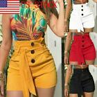Women's High Waisted Shorts Pants Button Casual Stretch Hot Pants US STOCK GIFT
