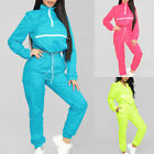 Women Reflective Jacket Elastic Drawstring Set Coats+ Pants Tracksuits Outdoor