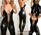 Sexy Lace up Faux Leather Bodysuit Wet Look Catsuit Costume Zip Jumpsuit SH90