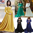 Women Sexy Off Shoulder Long Sleeve Maternity Dress Maxi Gown Photography Shoot
