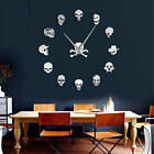 Different Skull Heads DIY Horror Wall Art Giant Wall Clock Big Needle Frameless