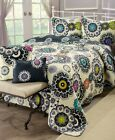 Floral Boho Quilt Set 5 Pc Reversible Bedding Vermicelli Stitching Bedroom Decor image